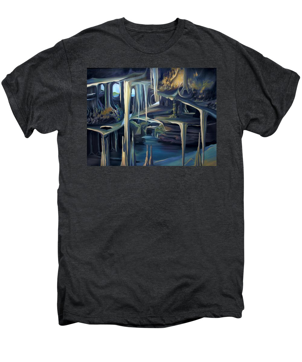 Mural Men's Premium T-Shirt featuring the painting Mural Ice Monks In November by Nancy Griswold
