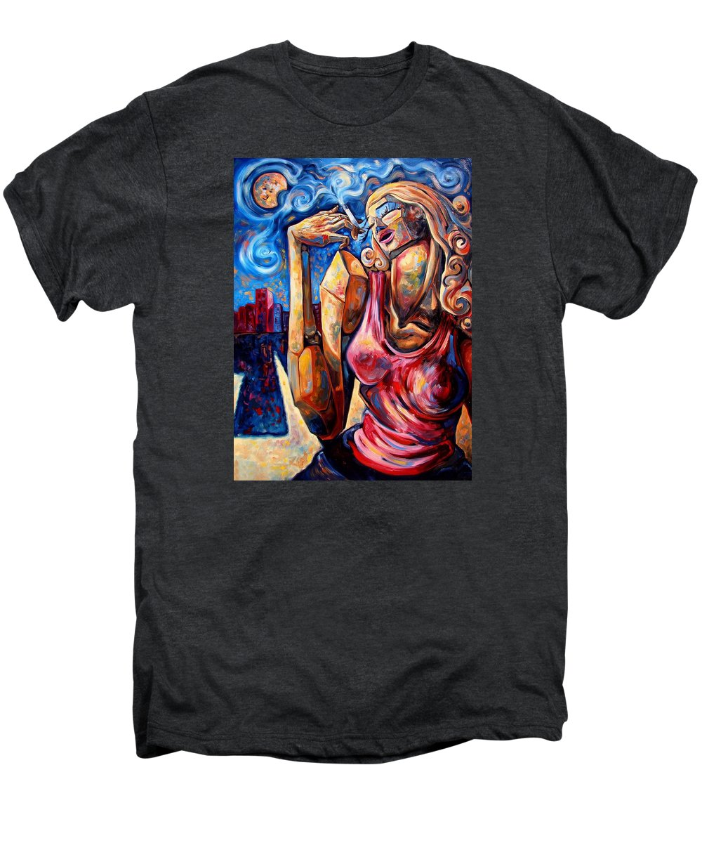 Surrealism Men's Premium T-Shirt featuring the painting Muse Of The Long Neck In The Night City by Darwin Leon