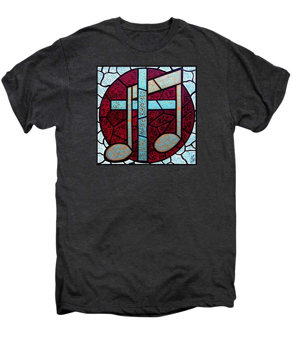 Cross Men's Premium T-Shirt featuring the painting Music Of The Cross by Jim Harris