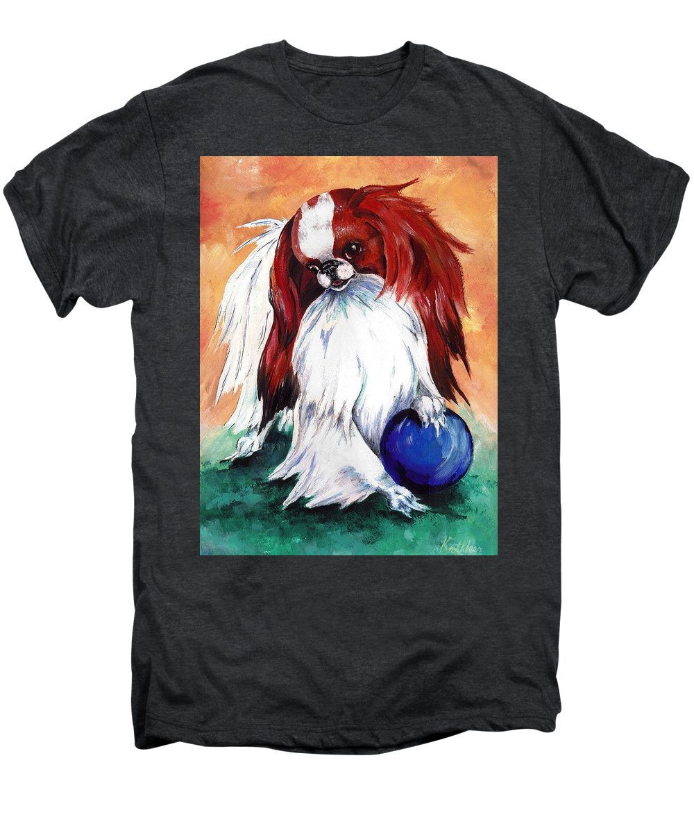 Japanese Chin Men's Premium T-Shirt featuring the painting My Ball by Kathleen Sepulveda