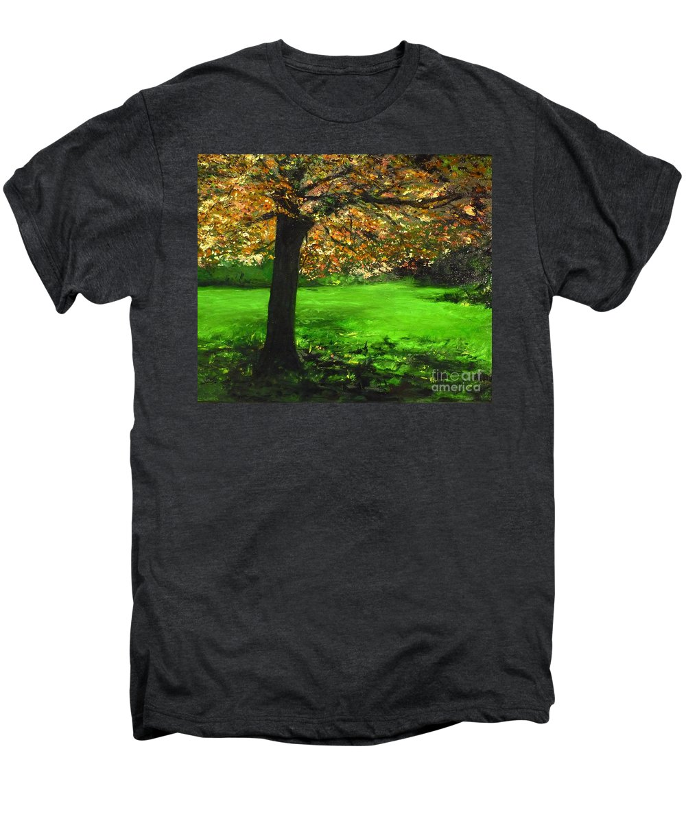 Spiritualism Men's Premium T-Shirt featuring the painting My Love Of Trees I by Lizzy Forrester