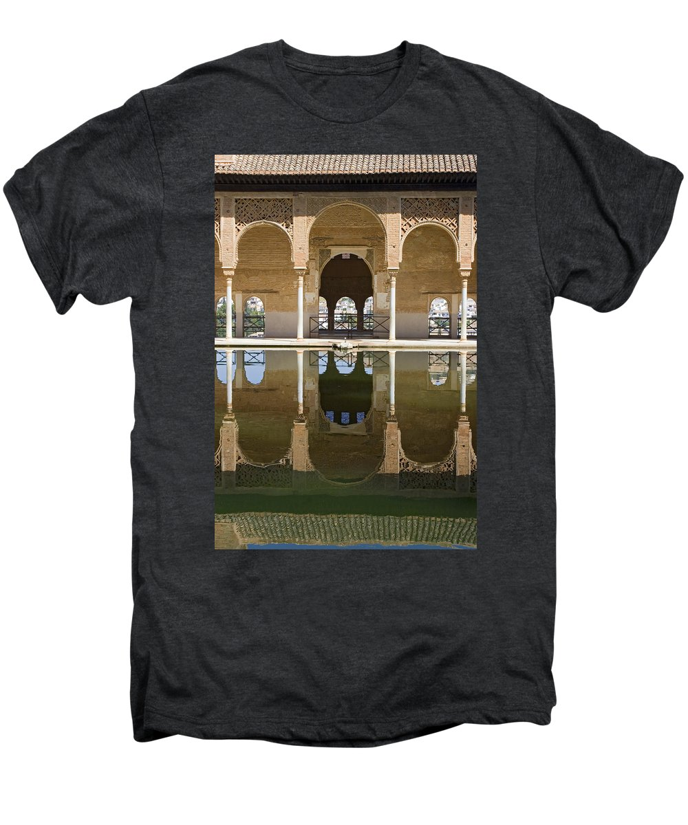 Moorish Men's Premium T-Shirt featuring the photograph Nasrid Palace Arches Reflection At The Alhambra Granada by Mal Bray