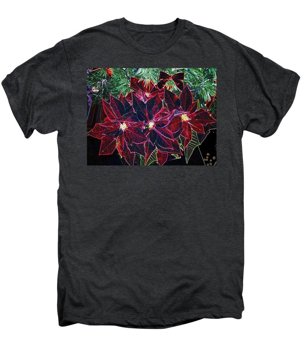 Flowers Men's Premium T-Shirt featuring the photograph Neon Poinsettias by Nancy Mueller