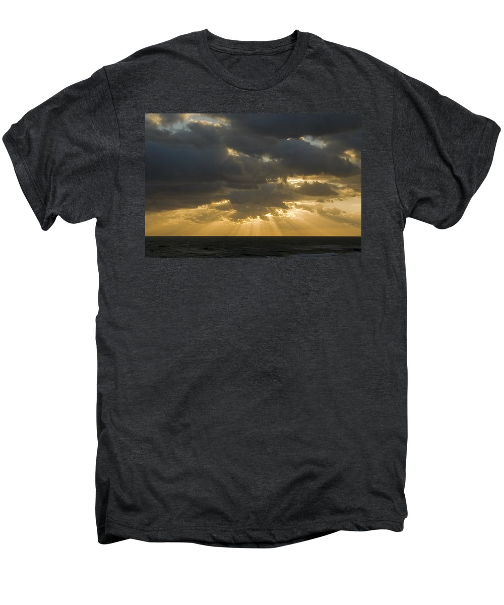 Ocean Sunset Sun Cloud Clouds Ray Rays Beam Beams Bright Wave Waves Water Sea Beach Golden Nature Men's Premium T-Shirt featuring the photograph New Beginning by Andrei Shliakhau
