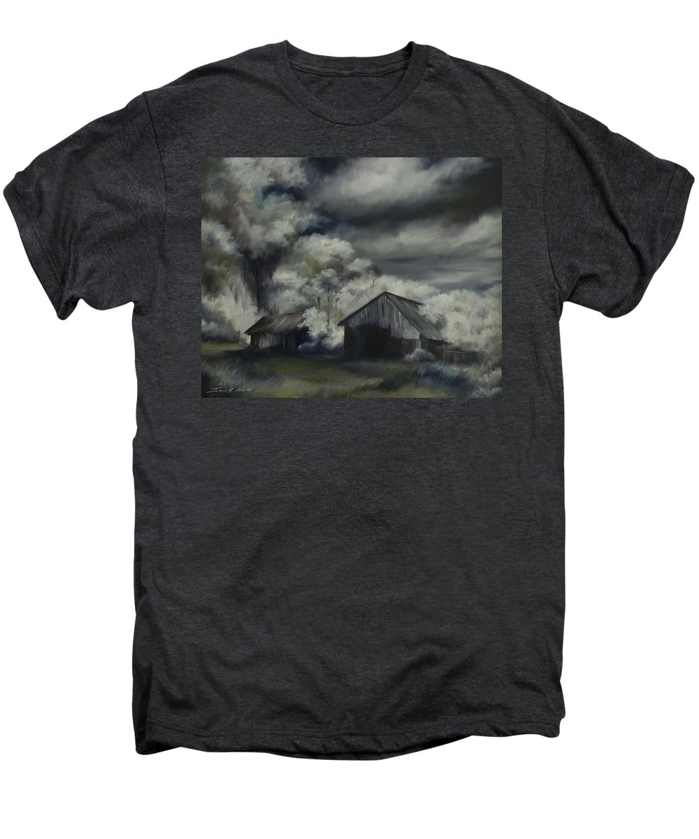 Motel; Route 66; Desert; Abandoned; Delapidated; Lost; Highway; Route 66; Road; Vacancy; Run-down; Building; Old Signage; Nastalgia; Vintage; James Christopher Hill; Jameshillgallery.com; Foliage; Sky; Realism; Oils; Barn Men's Premium T-Shirt featuring the painting Night Barn by James Christopher Hill