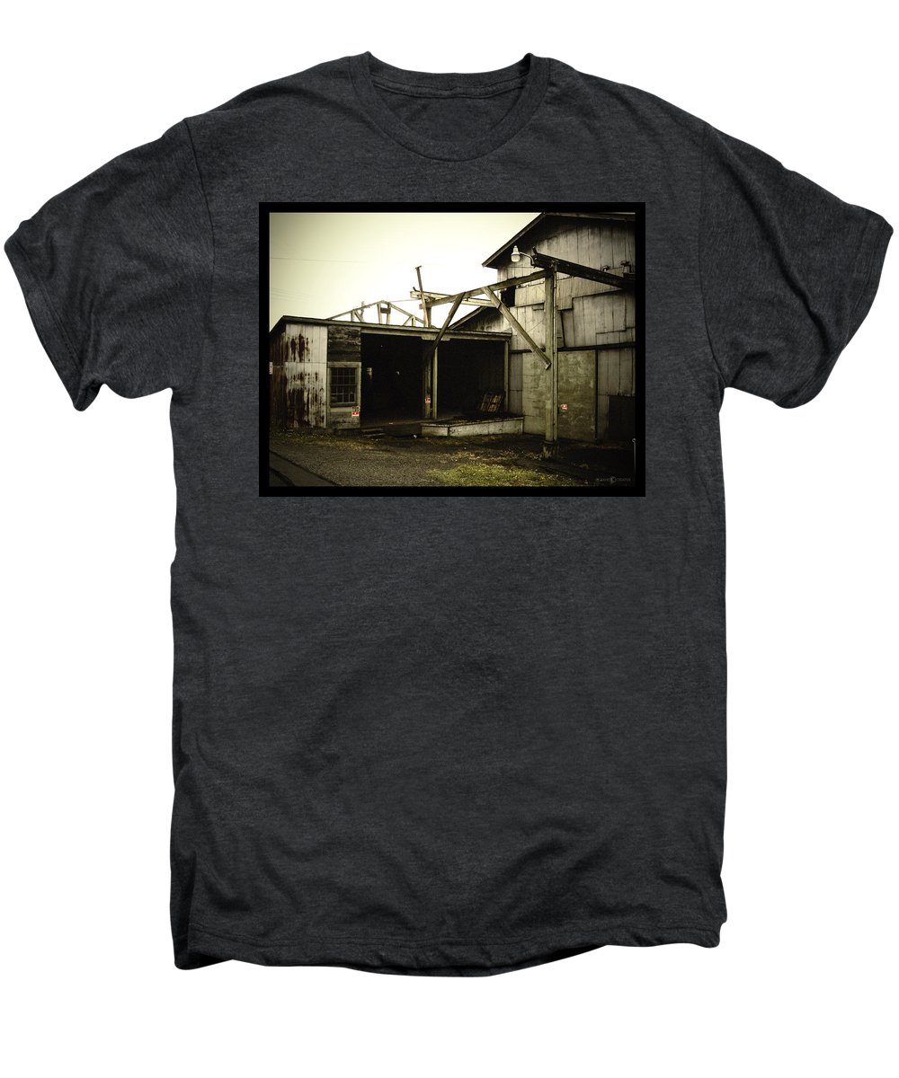 Warehouse Men's Premium T-Shirt featuring the photograph No Trespassing by Tim Nyberg