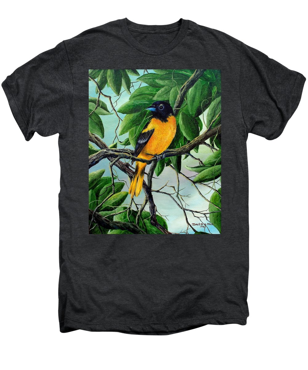 Oriole Men's Premium T-Shirt featuring the painting Northern Oriole by David G Paul