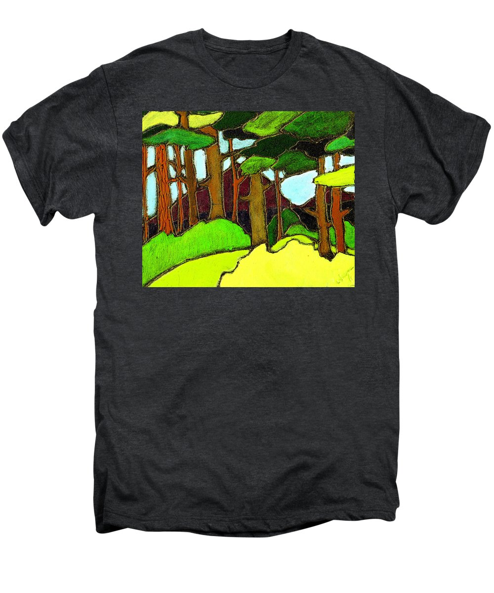 Trees Men's Premium T-Shirt featuring the painting Northern Pathway by Wayne Potrafka