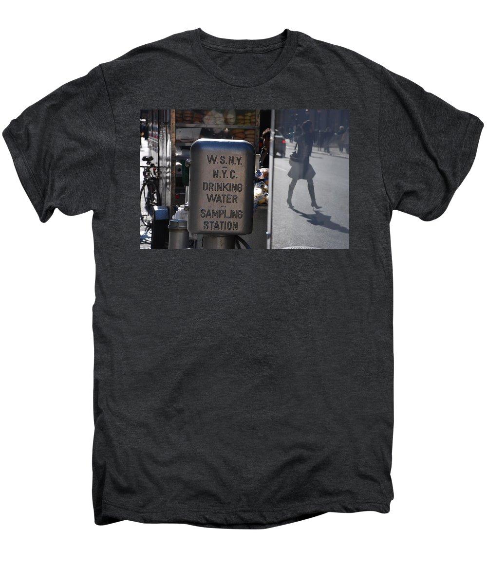Street Scene Men's Premium T-Shirt featuring the photograph Nyc Drinking Water by Rob Hans