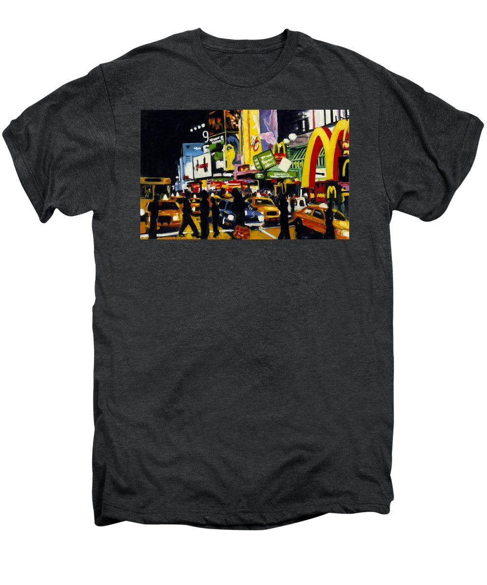 New York Men's Premium T-Shirt featuring the painting Nyc II The Temple Of M by Robert Reeves