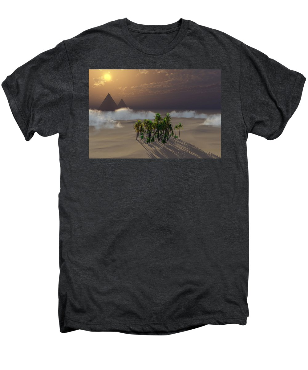 Deserts Men's Premium T-Shirt featuring the digital art Oasis by Richard Rizzo
