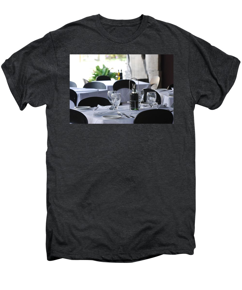 Tables Men's Premium T-Shirt featuring the photograph Oils And Glass At Dinner by Rob Hans