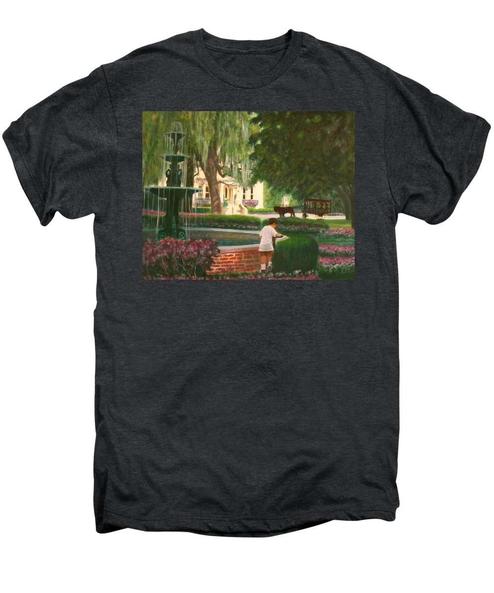 Savannah; Fountain; Child; House Men's Premium T-Shirt featuring the painting Old And Young Of Savannah by Ben Kiger