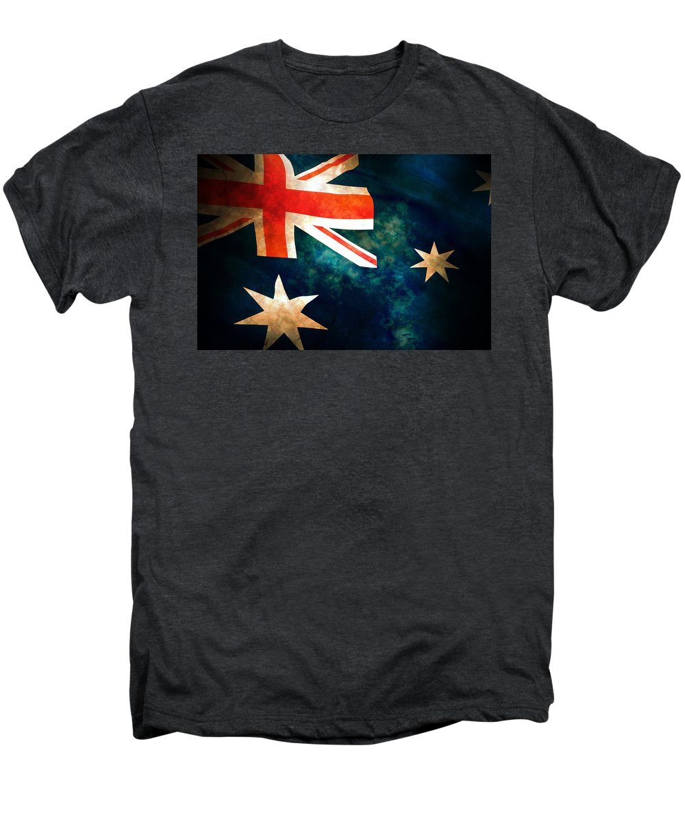 Australia Men's Premium T-Shirt featuring the photograph Old Australian Flag by Phill Petrovic
