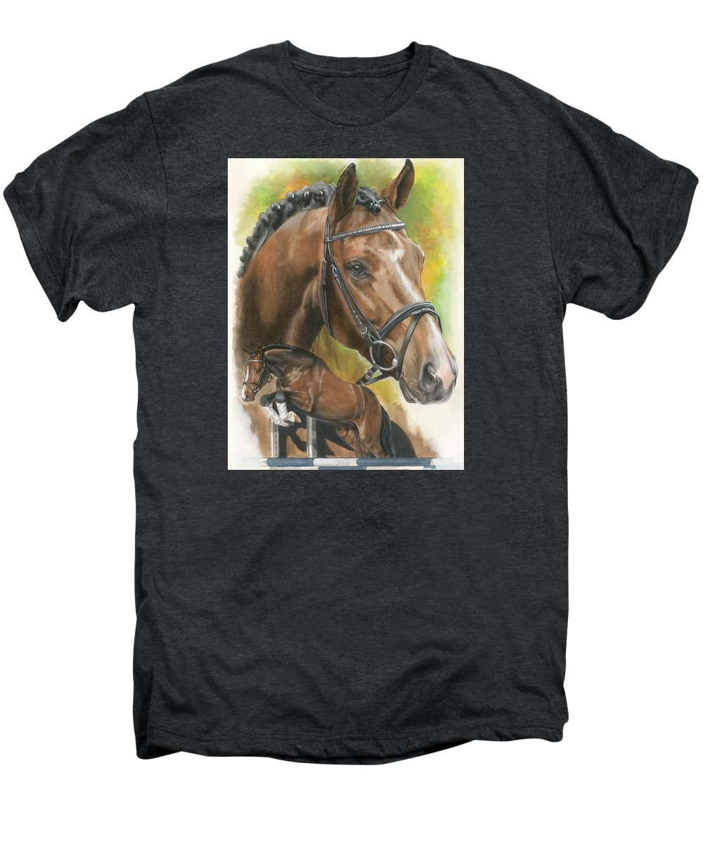 Hunter Jumper Men's Premium T-Shirt featuring the mixed media Oldenberg by Barbara Keith