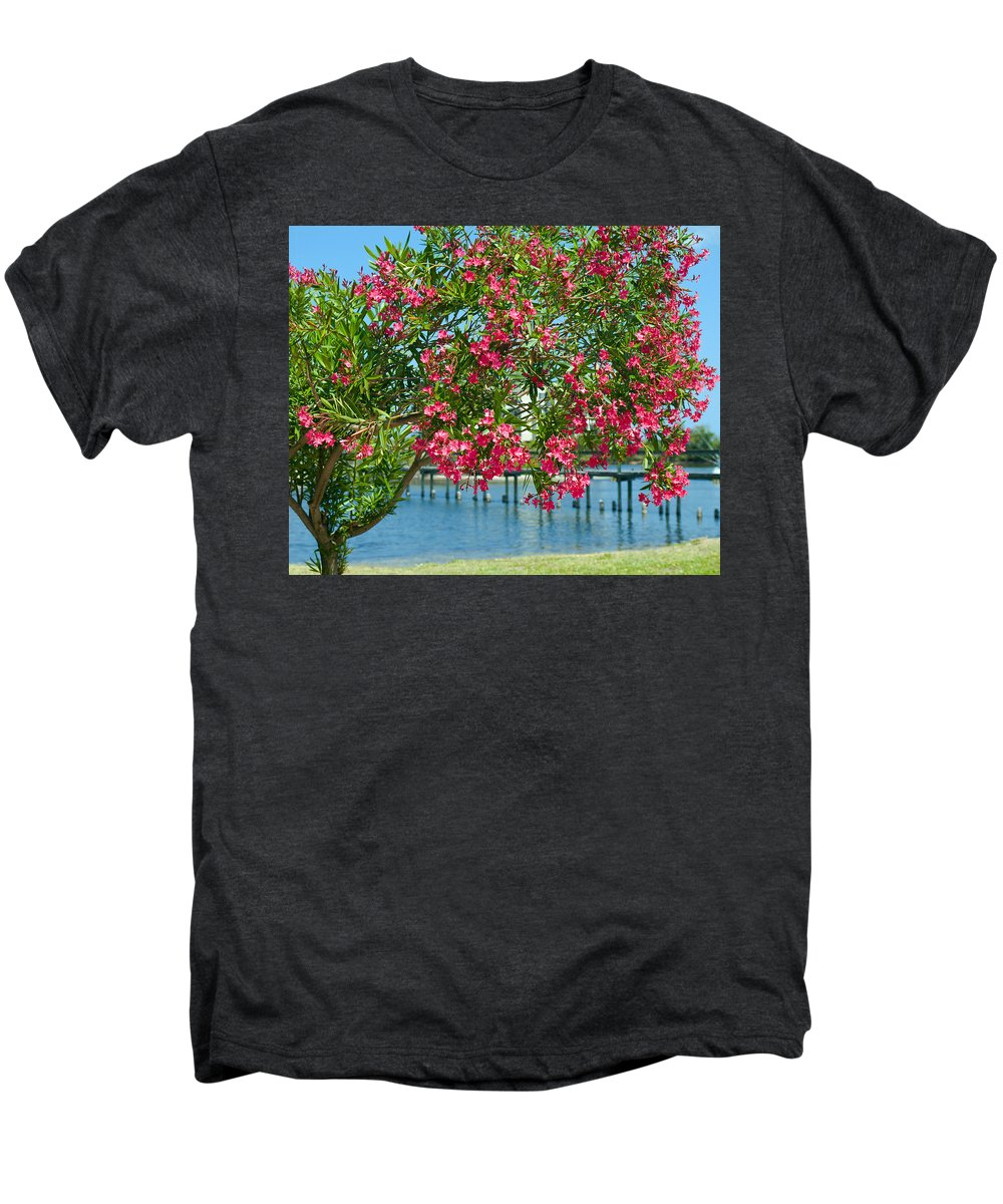 Florida; Indian; River; Melbourne; Nerium; Oleander; Red; Pink; Flower; Bush; Shrub; Poison; Poisono Men's Premium T-Shirt featuring the photograph Oleander On Melbourne Harbor In Florida by Allan Hughes
