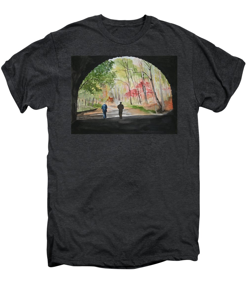 Road Men's Premium T-Shirt featuring the painting On The Road To Nowhere by Jean Blackmer