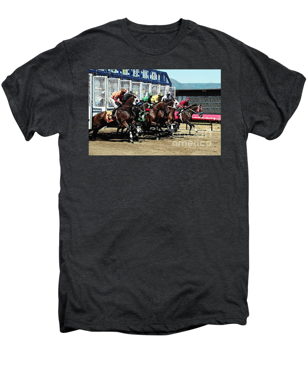 Horse Men's Premium T-Shirt featuring the photograph Only A Mile To Go by Kathy McClure