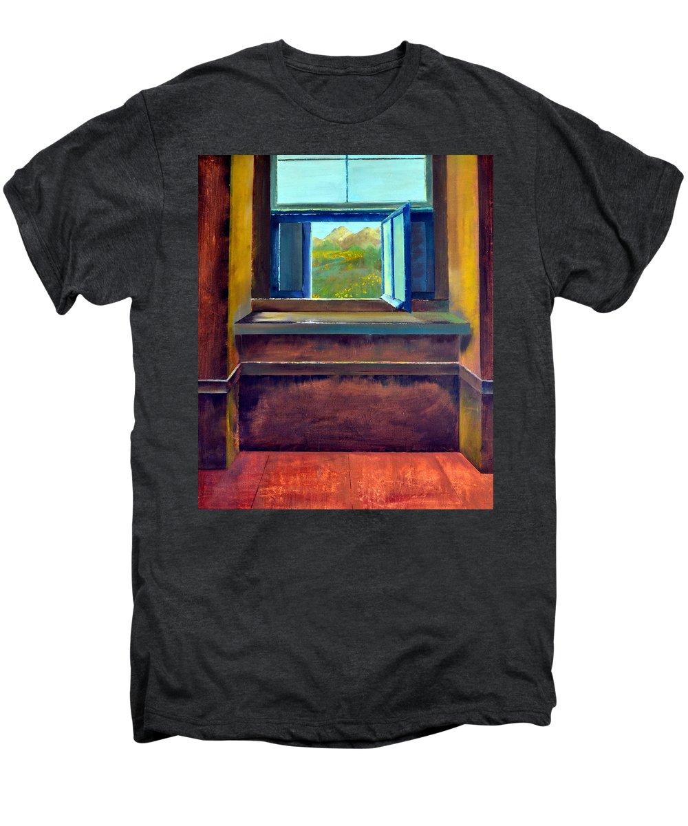 Trompe L'oeil Men's Premium T-Shirt featuring the painting Open Window by Michelle Calkins