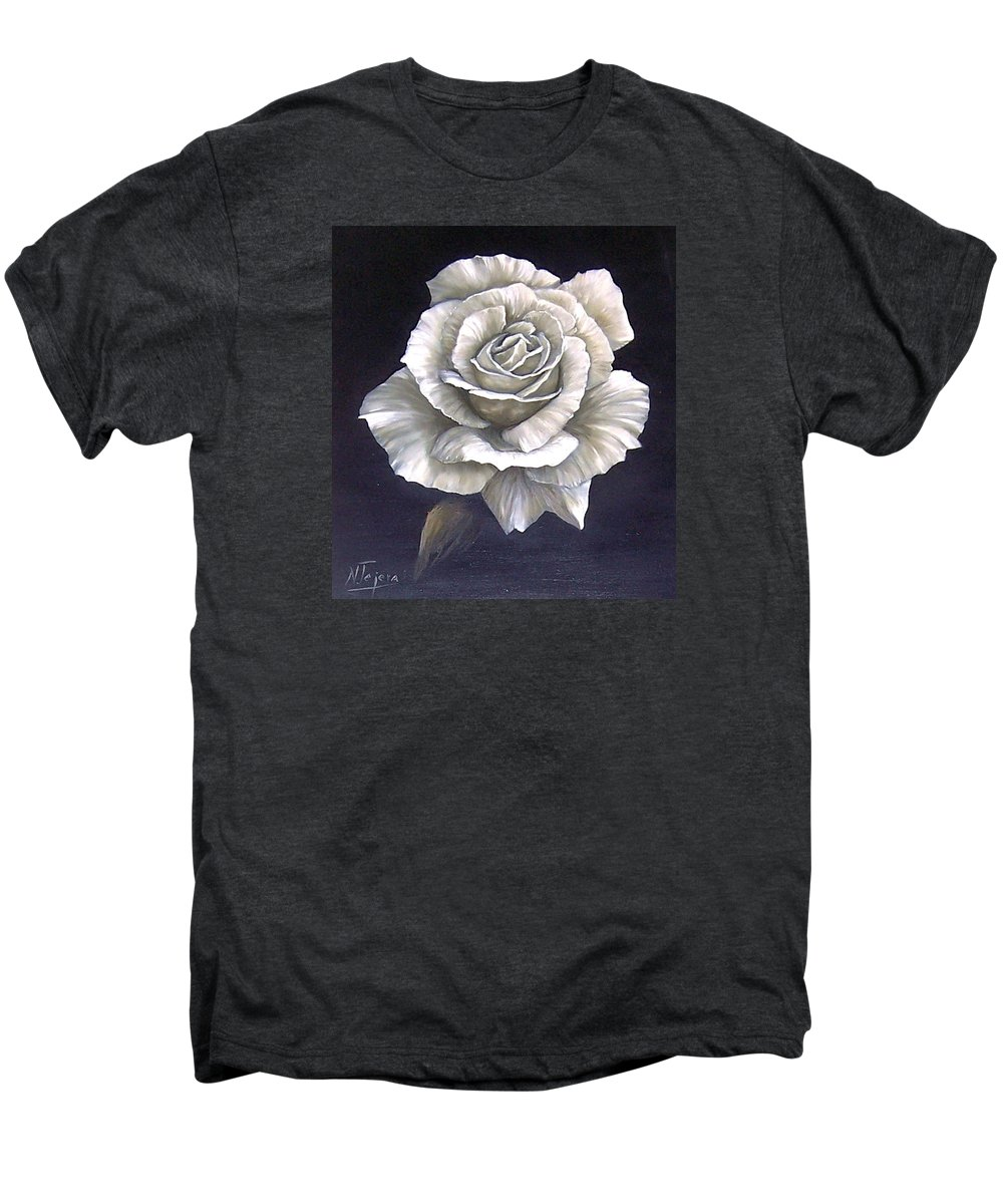 Rose Flower Men's Premium T-Shirt featuring the painting Opened Rose by Natalia Tejera