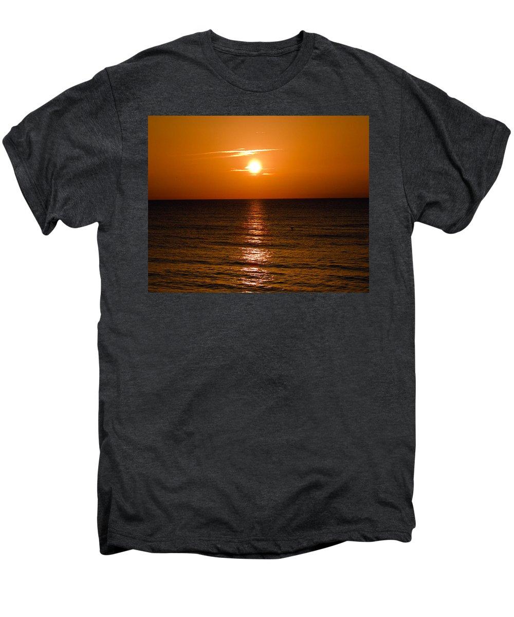 Sun; Rise; Sunrise; Orange; Florida; Morning; Solar; Ocean; Sea; Shore. Coast; Beach; Calm; Waves; S Men's Premium T-Shirt featuring the photograph Orange Sunrise Over A Florida Beach by Allan Hughes