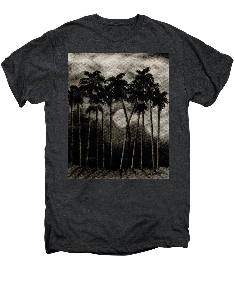 Original Moonlit Palm Trees Men's Premium T-Shirt featuring the drawing Original Moonlit Palm Trees by Larry Lehman