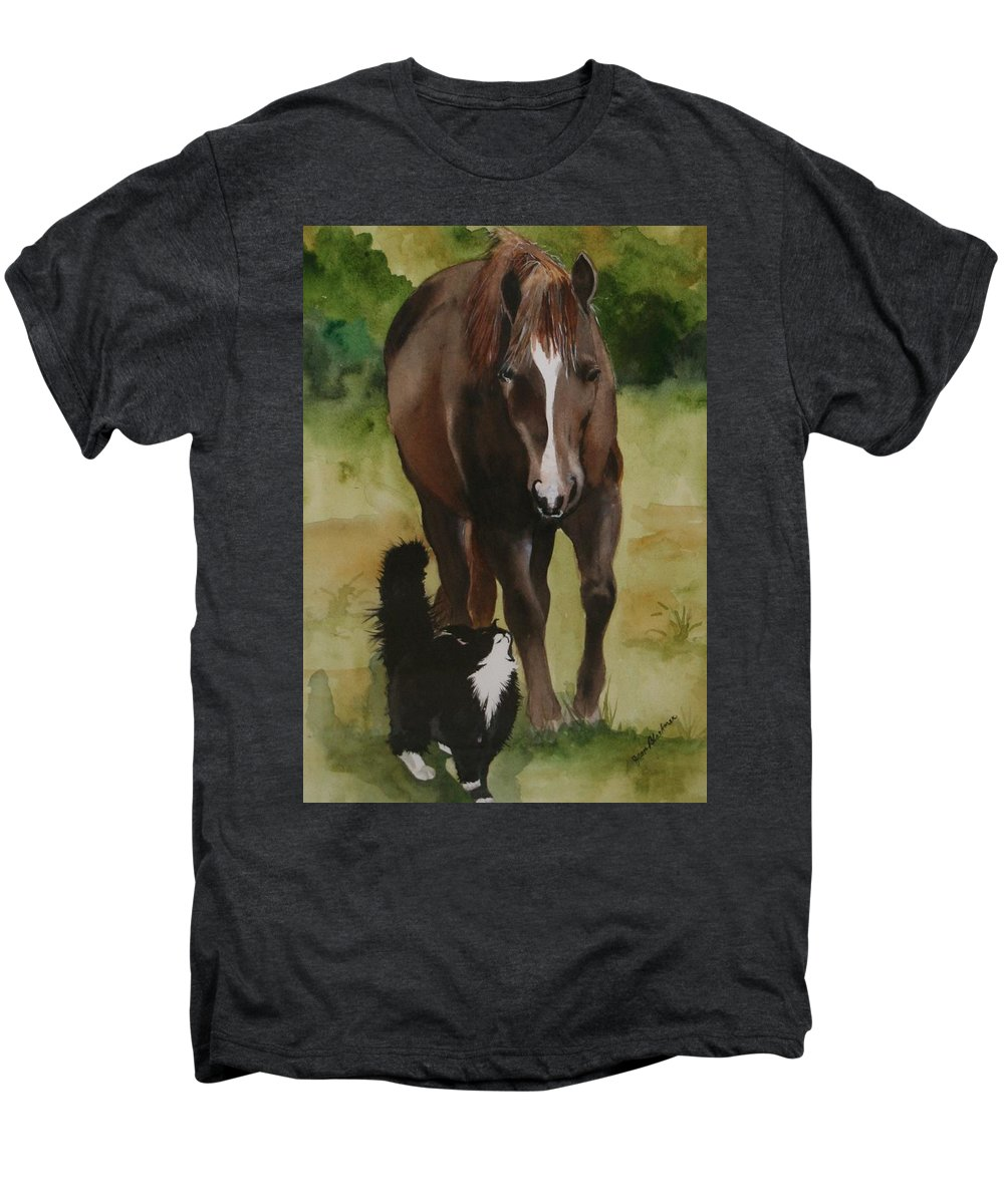 Horse Men's Premium T-Shirt featuring the painting Oscar And Friend by Jean Blackmer
