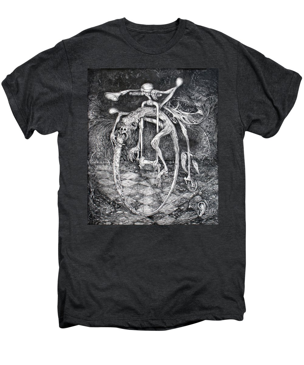 Ouroboros Men's Premium T-Shirt featuring the drawing Ouroboros Perpetual Motion Machine by Otto Rapp