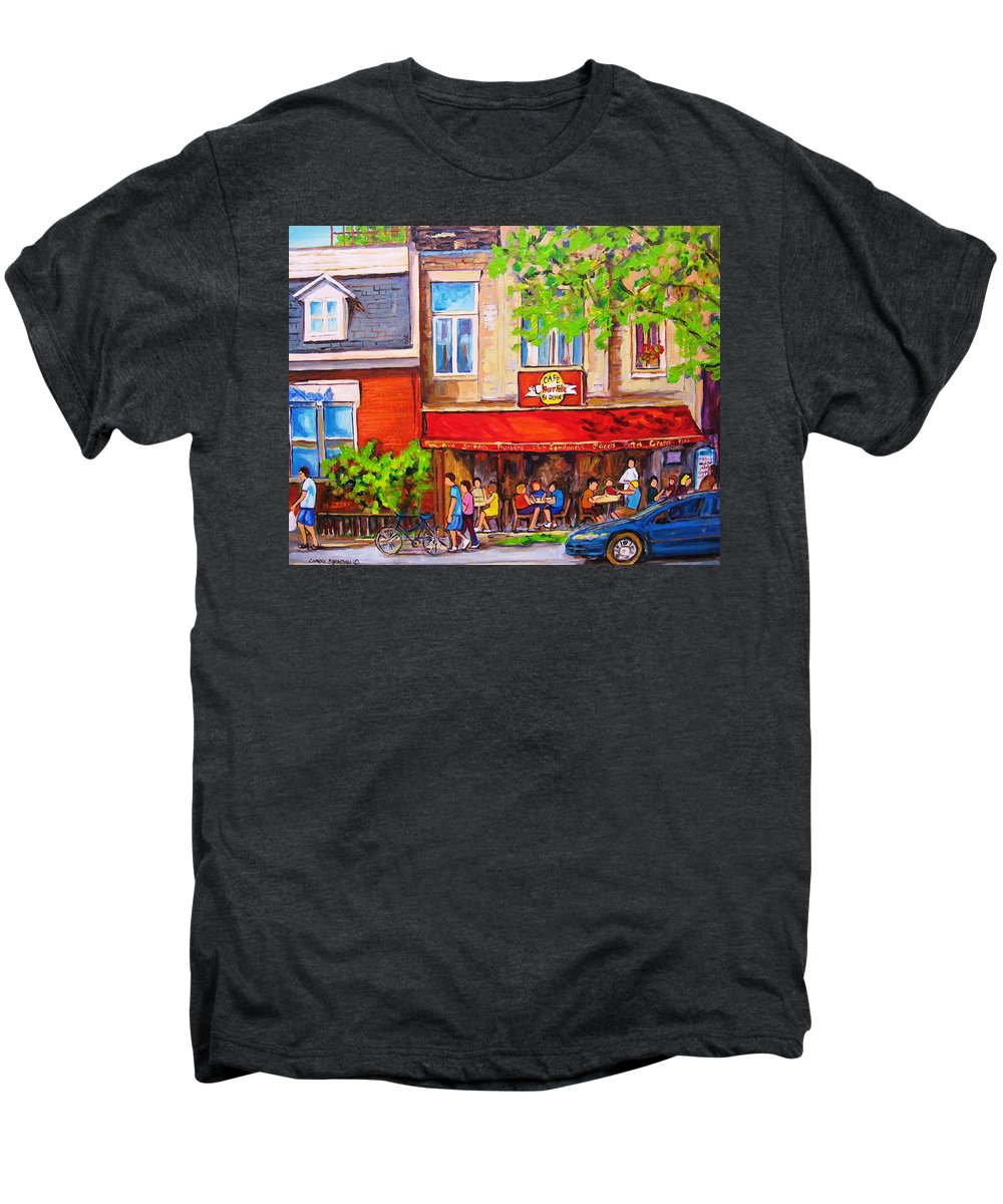 Montreal Men's Premium T-Shirt featuring the painting Outdoor Cafe by Carole Spandau