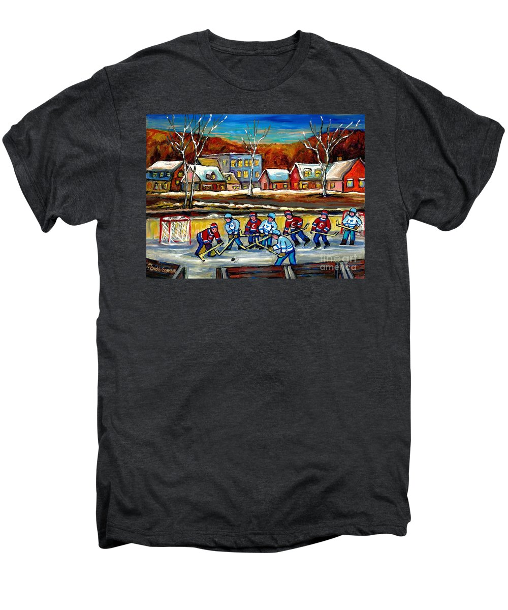 Country Hockey Rink Men's Premium T-Shirt featuring the painting Outdoor Hockey Rink by Carole Spandau