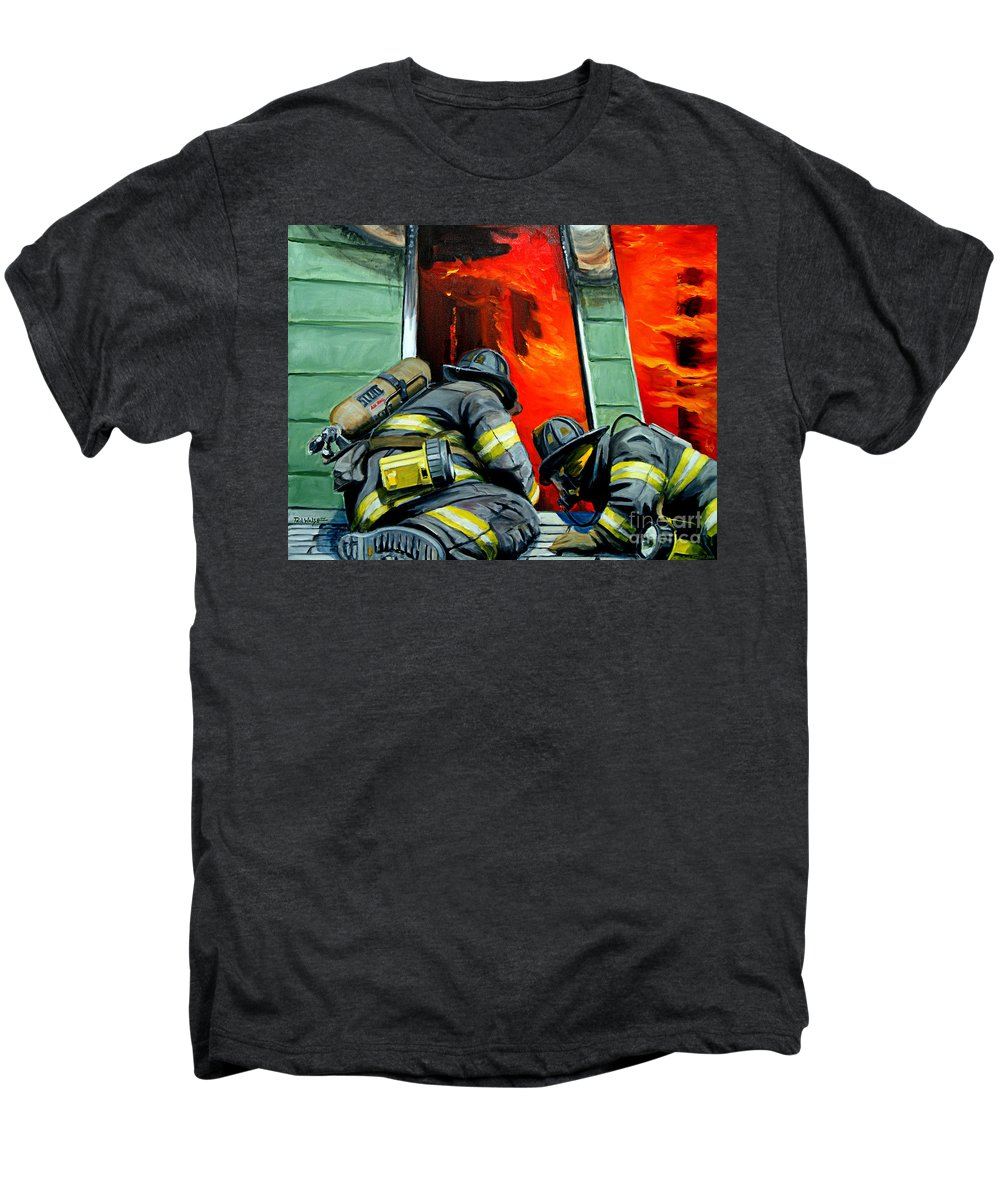 Firefighting Men's Premium T-Shirt featuring the painting Outside Roof by Paul Walsh