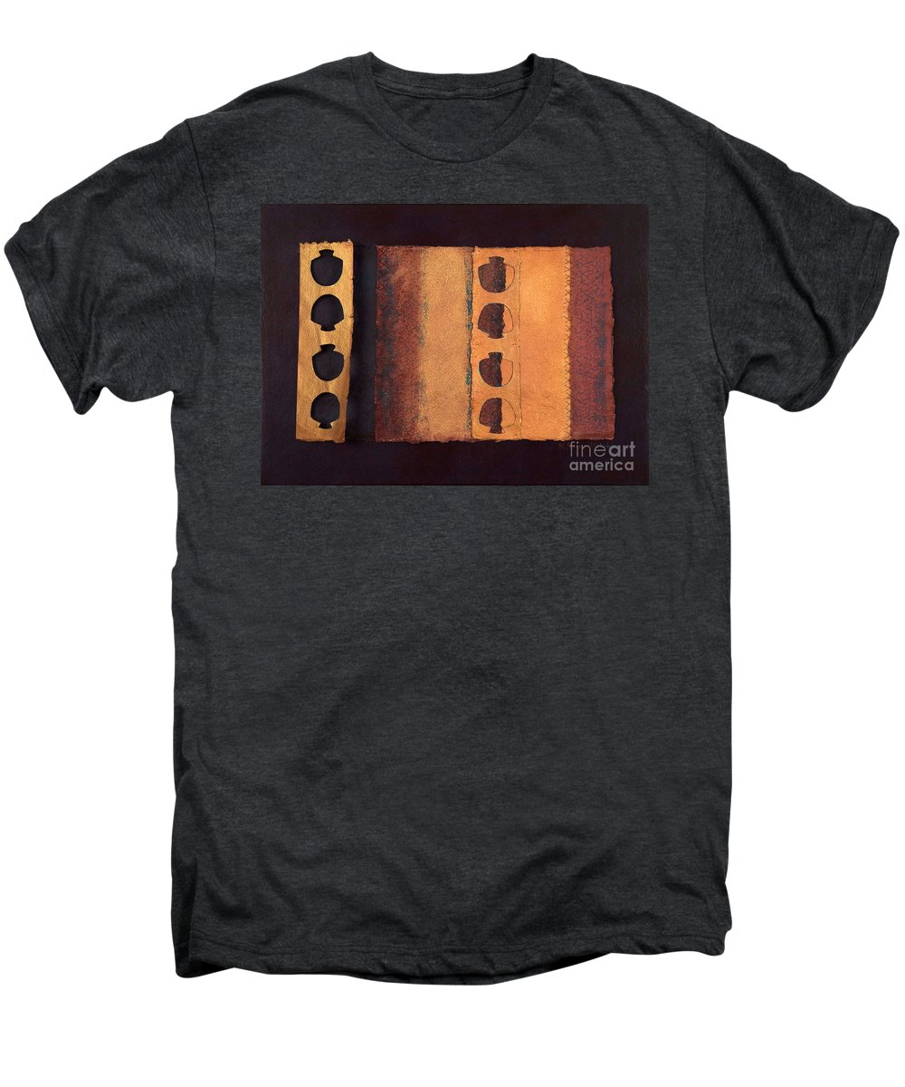 Pageformat Men's Premium T-Shirt featuring the mixed media Page Format No 3 Tansitional Series  by Kerryn Madsen-Pietsch