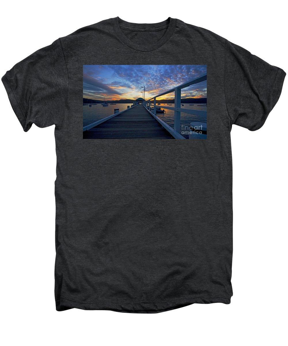 Palm Beach Sydney Wharf Sunset Dusk Water Pittwater Men's Premium T-Shirt featuring the photograph Palm Beach Wharf At Dusk by Sheila Smart Fine Art Photography