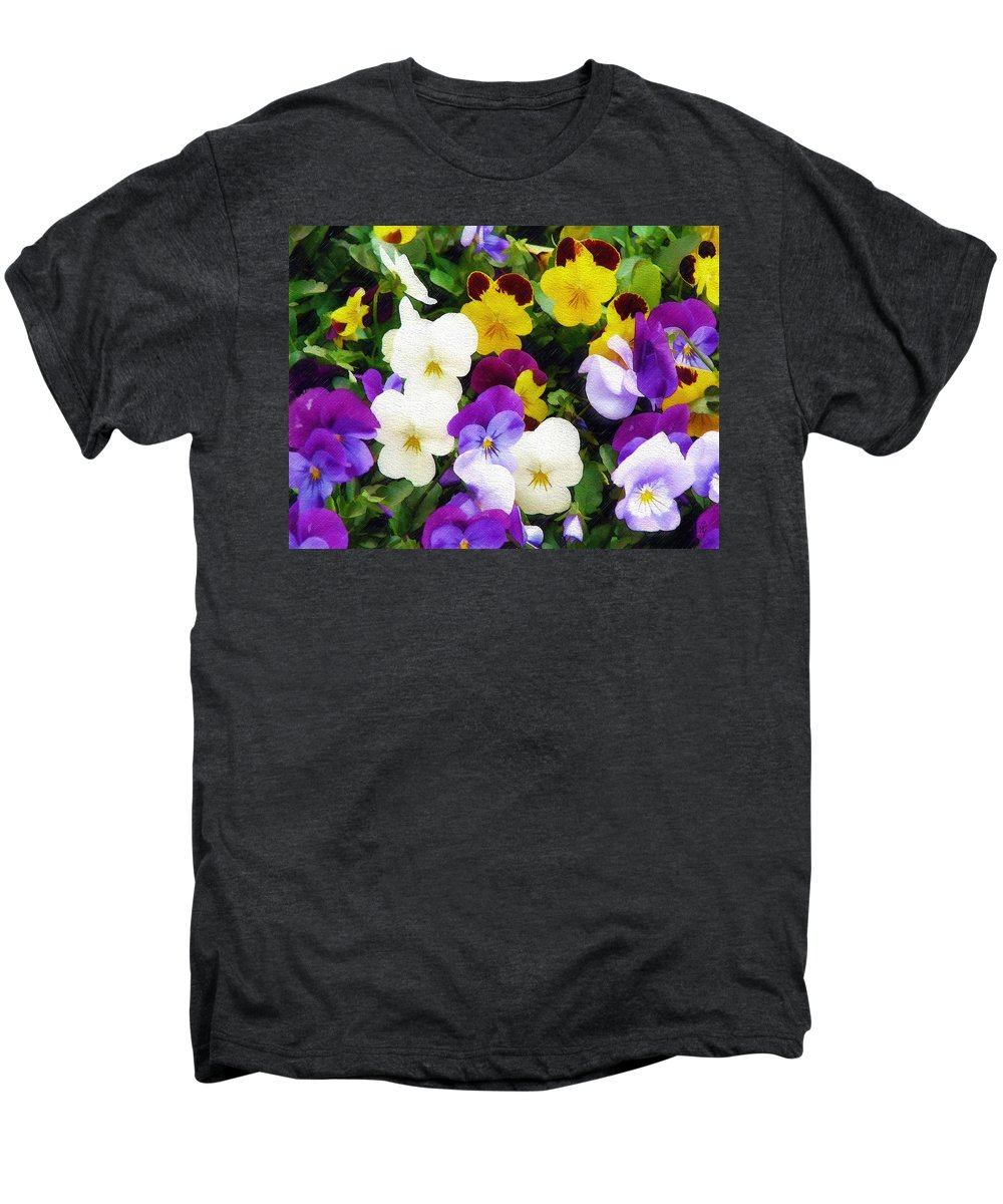 Pansies Men's Premium T-Shirt featuring the photograph Pansies by Sandy MacGowan