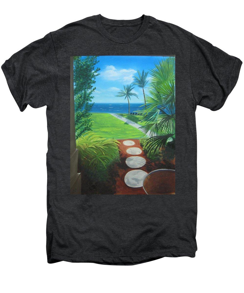 Seascape Men's Premium T-Shirt featuring the painting Paradise Beckons by Lea Novak