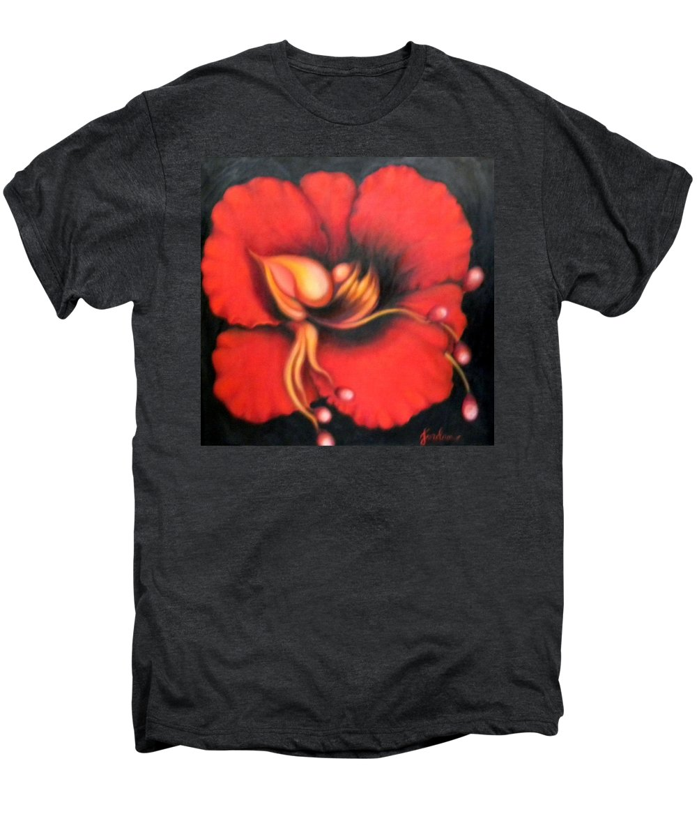 Red Surreal Bloom Artwork Men's Premium T-Shirt featuring the painting Passion Flower by Jordana Sands