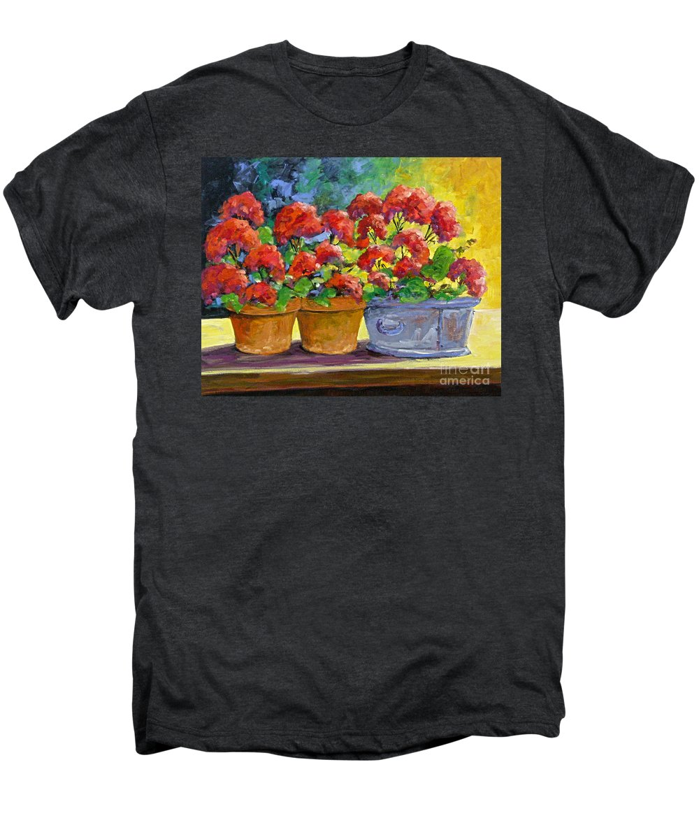 Still Life; Geraniums; Flowers; Terra Cotta; Red; Blue; Yellow; Green; Pranke; Men's Premium T-Shirt featuring the painting Passion In Red by Richard T Pranke