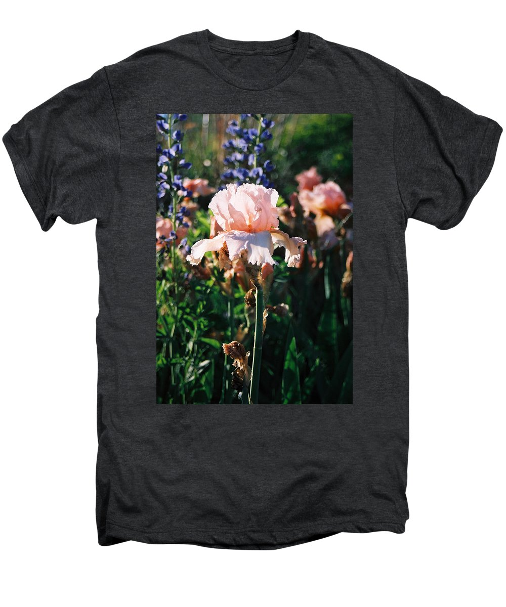 Flower Men's Premium T-Shirt featuring the photograph Peach Iris by Steve Karol