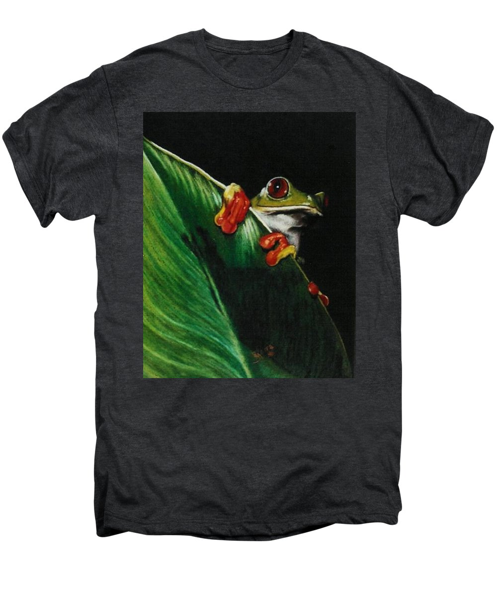 Frog Men's Premium T-Shirt featuring the drawing Peek-a-boo by Barbara Keith