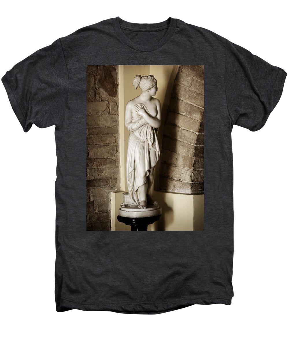 Statue Men's Premium T-Shirt featuring the photograph Peering Woman by Marilyn Hunt
