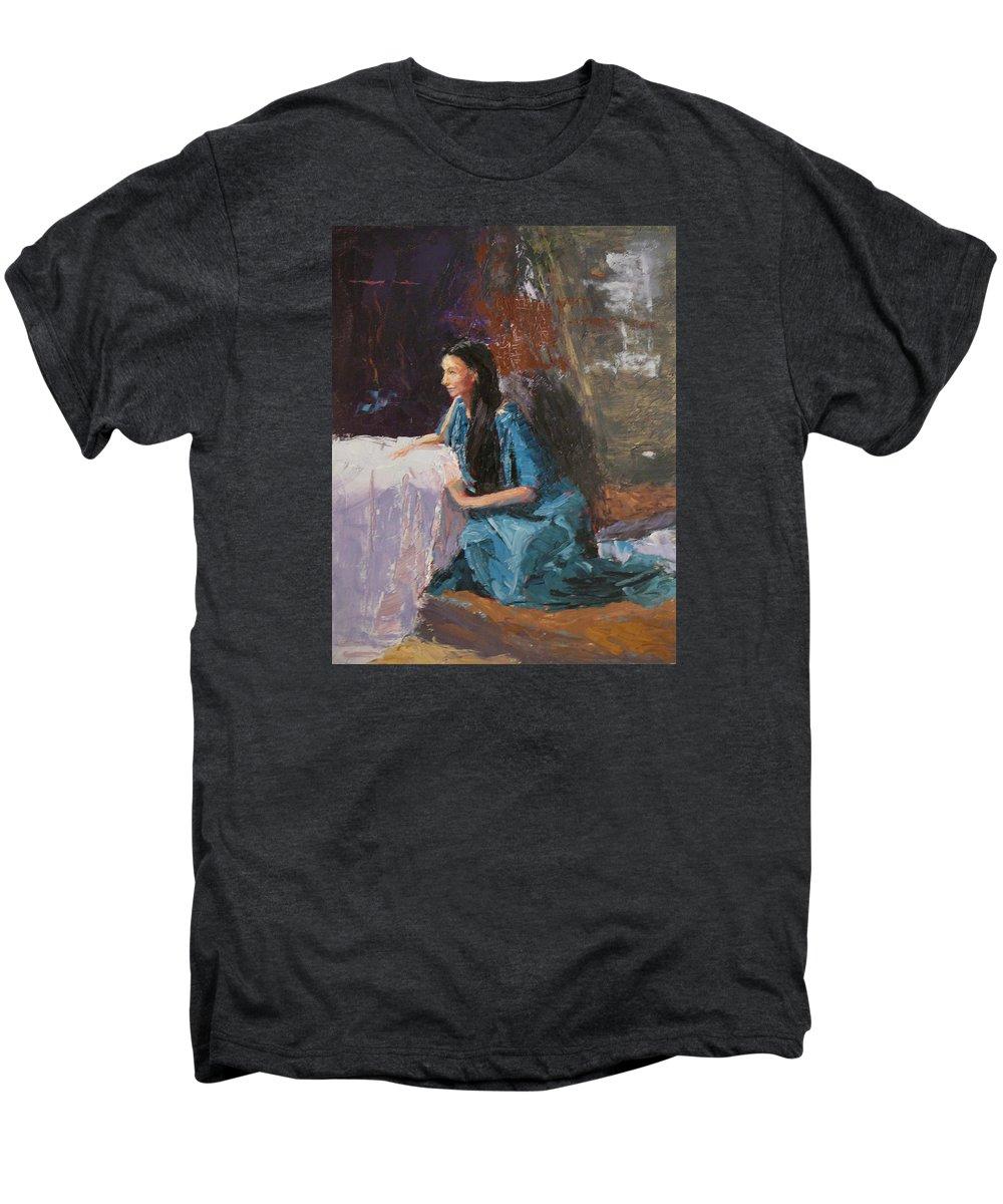 Sitting Woman Men's Premium T-Shirt featuring the painting Penelope by Irena Jablonski