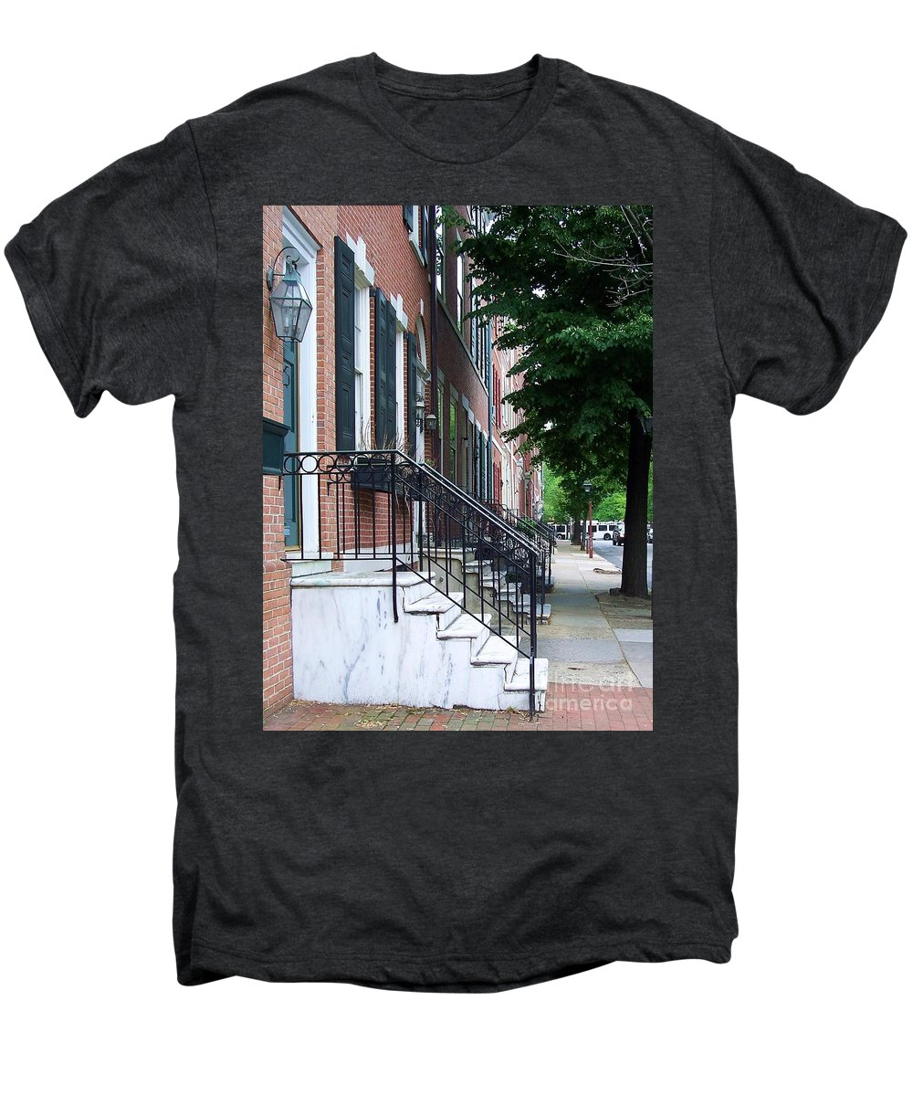 Architecture Men's Premium T-Shirt featuring the photograph Philadelphia Neighborhood by Debbi Granruth