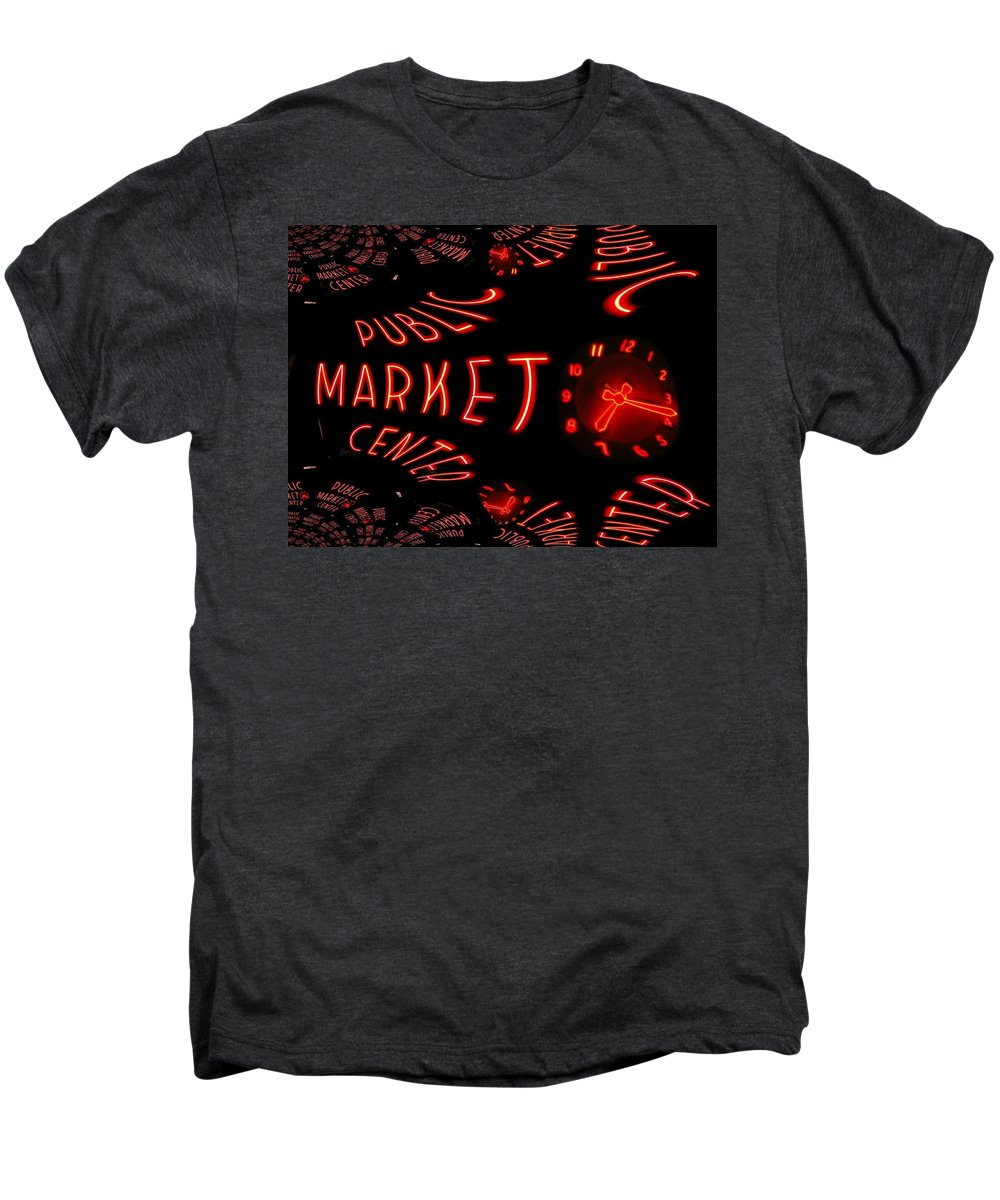 Seattle Men's Premium T-Shirt featuring the digital art Pike Place Market Entrance 6 by Tim Allen