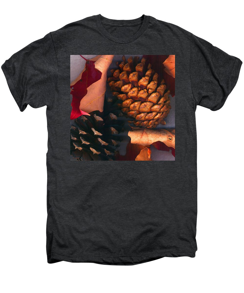 Pine Cones Men's Premium T-Shirt featuring the photograph Pine Cones And Leaves by Nancy Mueller