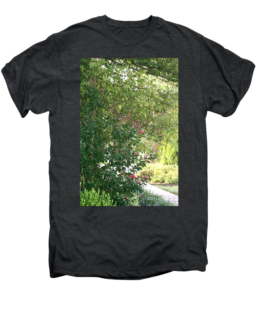 Path Men's Premium T-Shirt featuring the photograph Pink And Green Path by Nadine Rippelmeyer