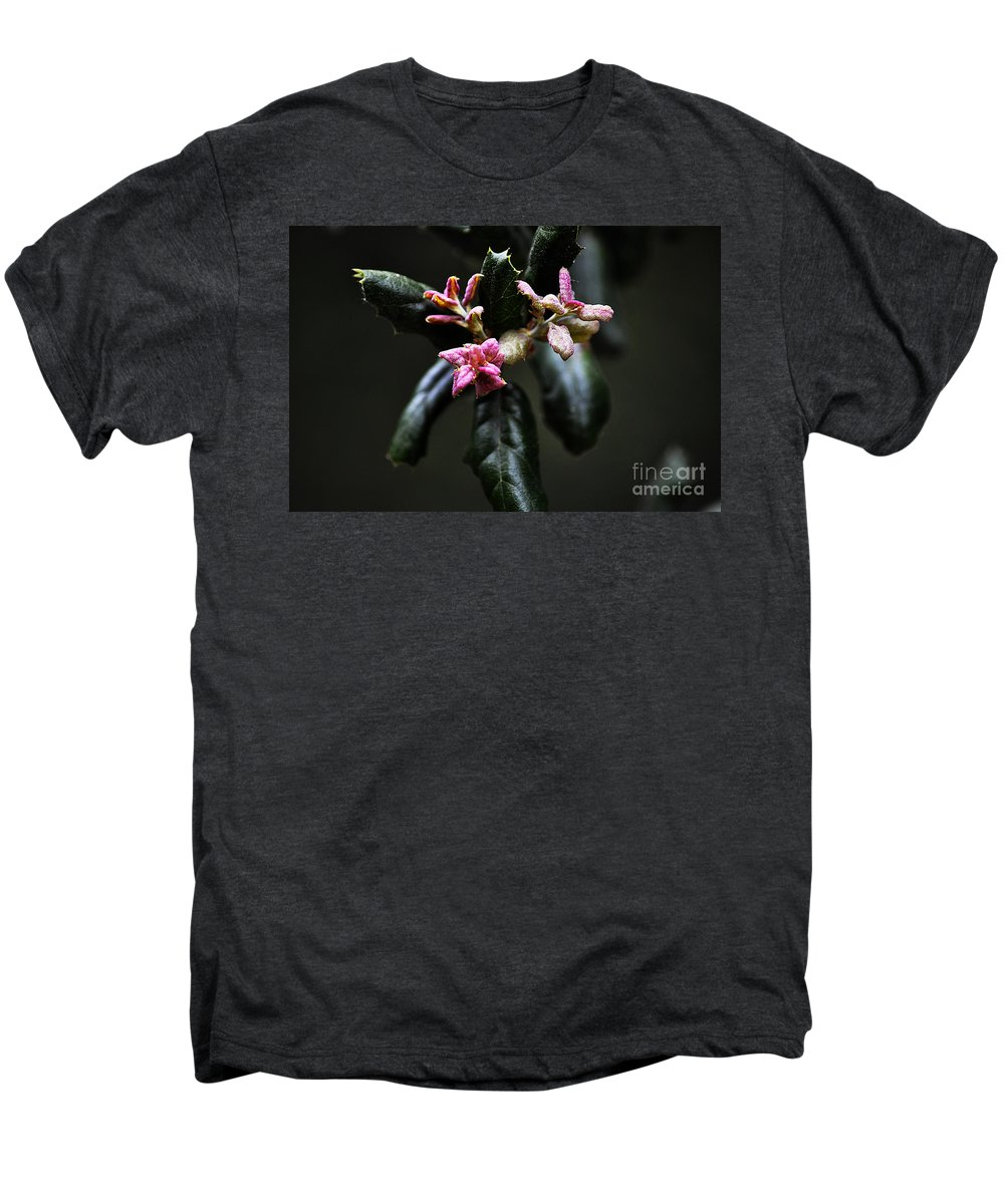 Clay Men's Premium T-Shirt featuring the photograph Pink Bud by Clayton Bruster