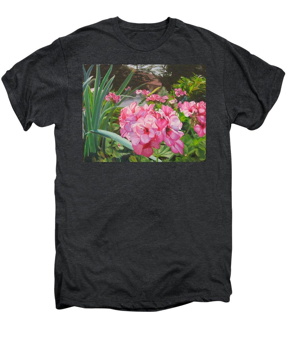 Pink Geraniums Men's Premium T-Shirt featuring the painting Pink Geraniums by Lea Novak