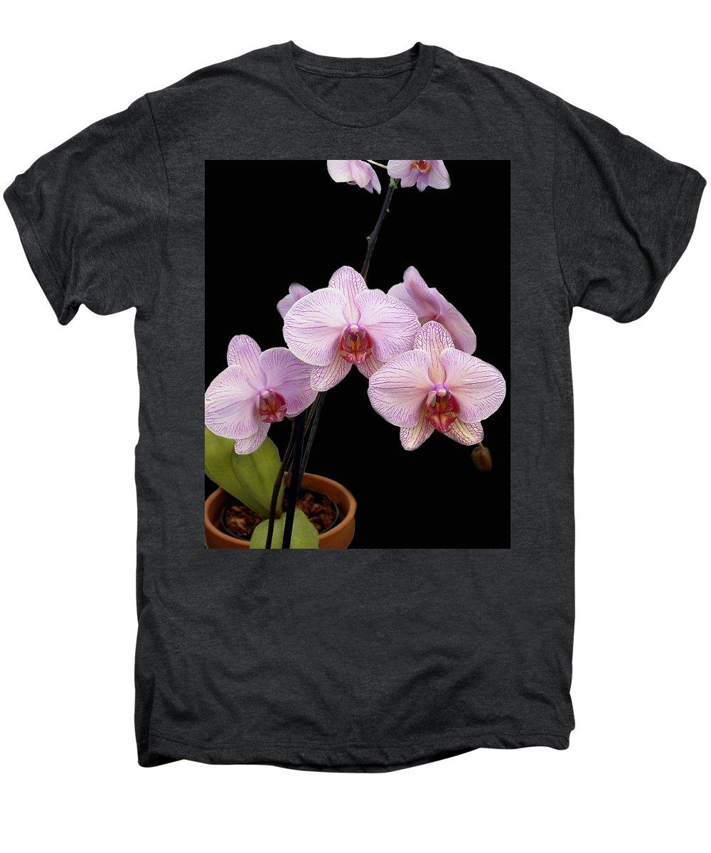 Flowers Men's Premium T-Shirt featuring the photograph Pink Orchids by Kurt Van Wagner