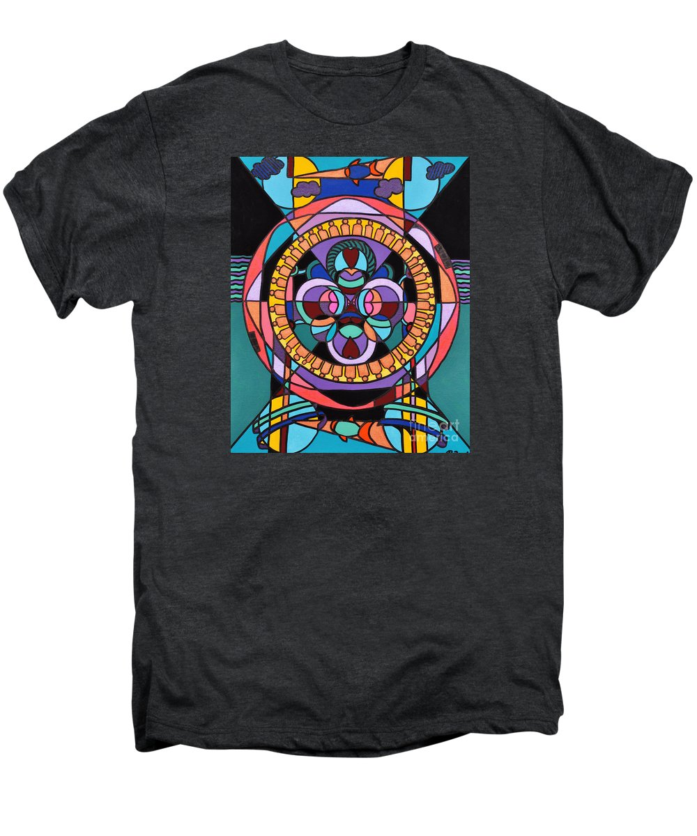 Surreal - Dream Works-mandala Men's Premium T-Shirt featuring the painting Planet Earth by Reb Frost