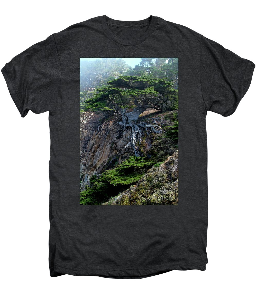 Landscape Men's Premium T-Shirt featuring the photograph Point Lobos Veteran Cypress Tree by Charlene Mitchell